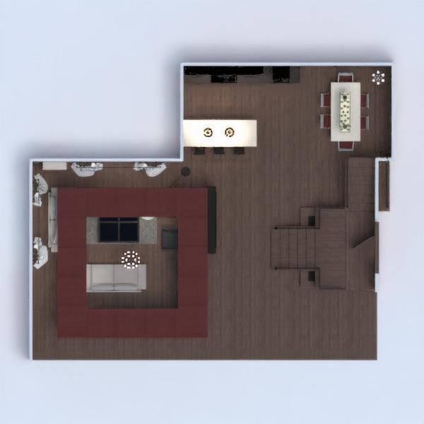 floorplans namas baldai svetainė virtuvė apšvietimas valgomasis 3d