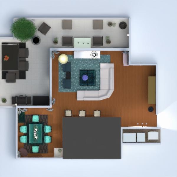 floorplans apartamento muebles salón cocina comedor 3d