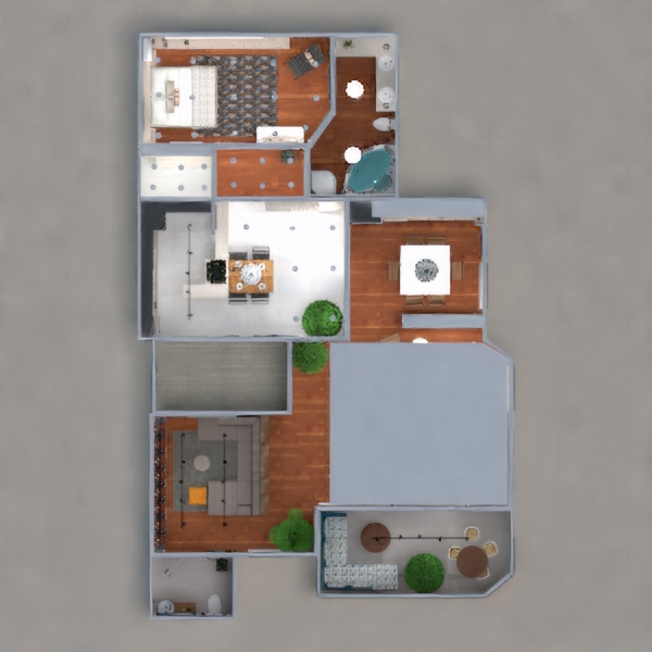floorplans apartment terrace furniture decor bathroom bedroom kitchen lighting dining room architecture 3d
