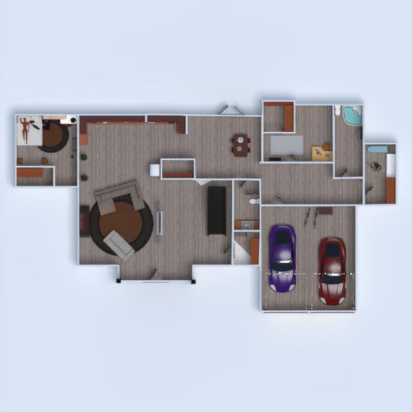 floorplans casa varanda inferior mobílias casa de banho dormitório 3d