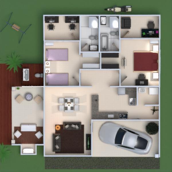 floorplans namas terasa baldai dekoras pasidaryk pats vonia miegamasis svetainė garažas virtuvė biuras valgomasis аrchitektūra prieškambaris 3d