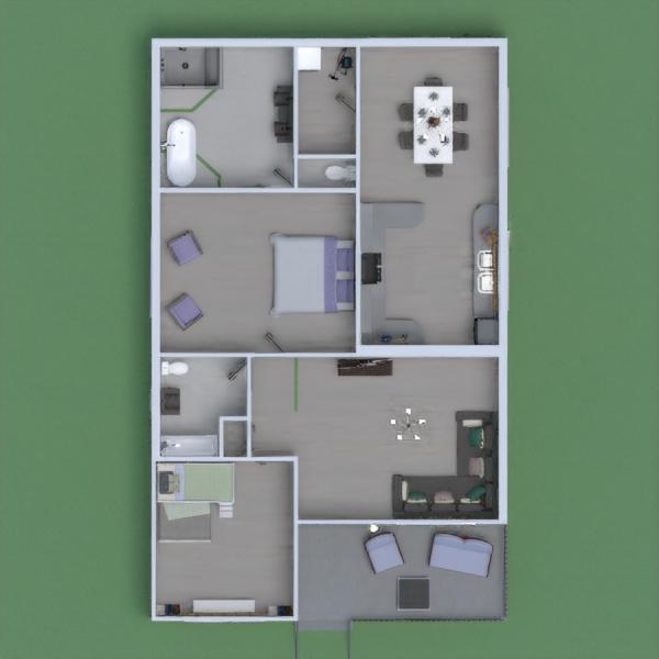 progetti casa camera da letto saggiorno cucina paesaggio 3d