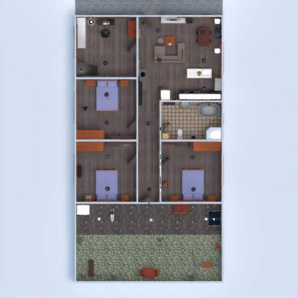 floorplans namas virtuvė eksterjeras biuras 3d