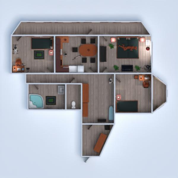 floorplans garaje cocina exterior hogar cafetería 3d