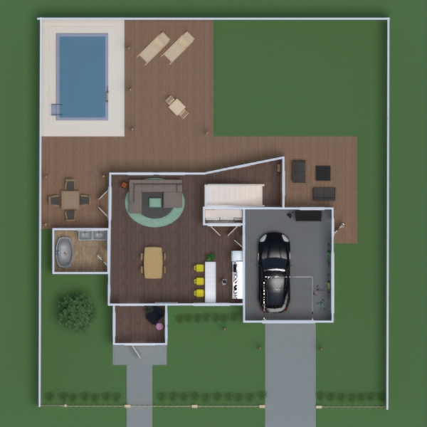 floorplans casa área externa utensílios domésticos 3d