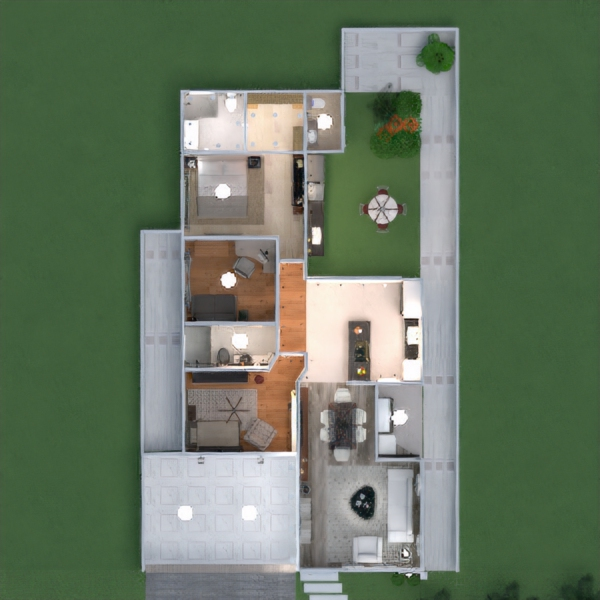floorplans namas vonia svetainė garažas virtuvė eksterjeras biuras apšvietimas valgomasis аrchitektūra 3d