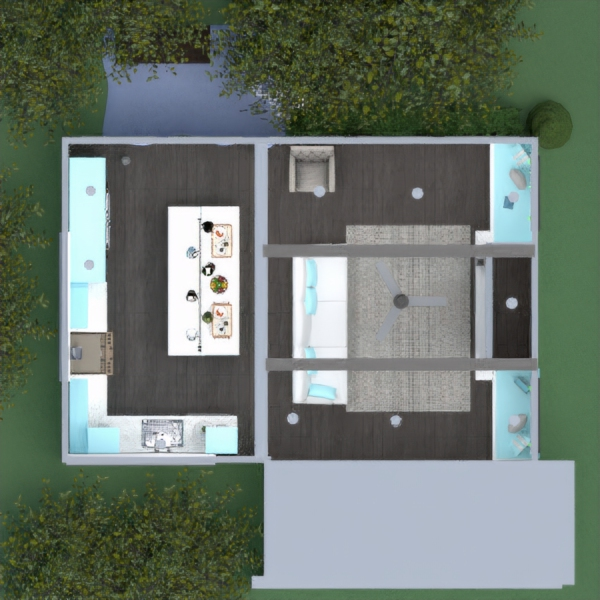 floorplans house living room kitchen lighting studio 3d