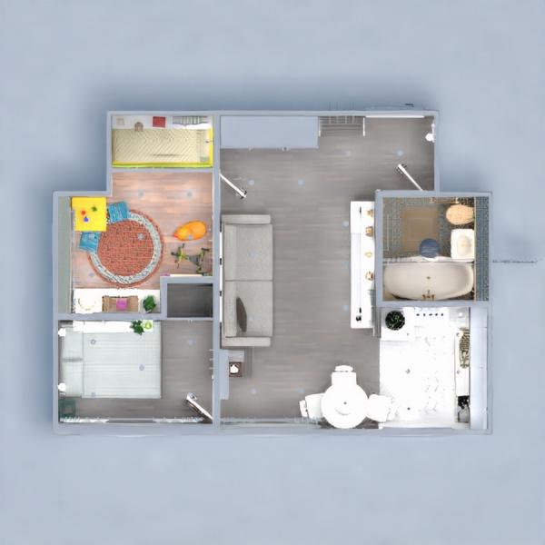 floorplans butas vonia miegamasis virtuvė vaikų kambarys 3d