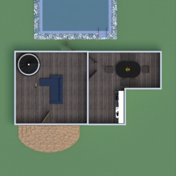 floorplans salón cocina comedor 3d