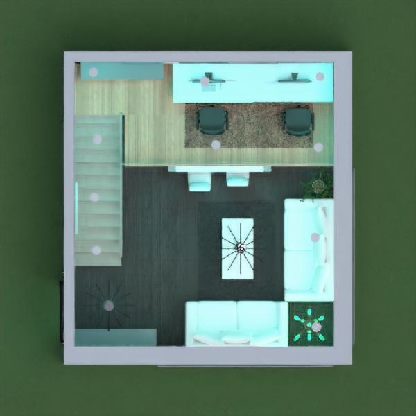 planos casa salón cocina despacho iluminación 3d