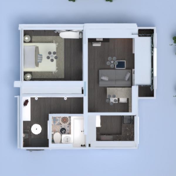 floorplans butas dekoras vonia miegamasis svetainė virtuvė renovacija studija prieškambaris 3d