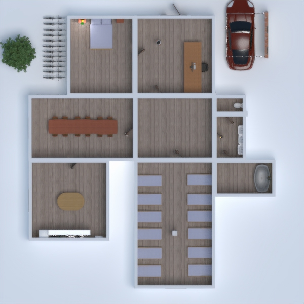 floorplans casa garaje habitación infantil despacho descansillo 3d