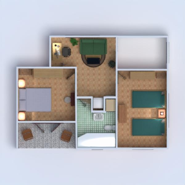 floorplans cuarto de baño dormitorio salón 3d