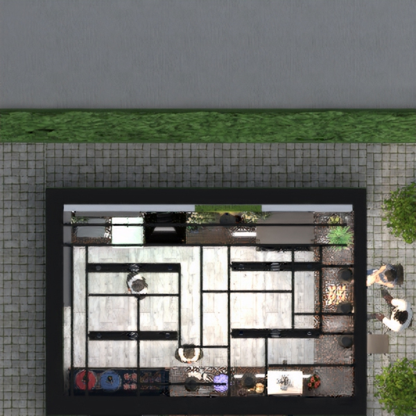 floorplans mobiliar do-it-yourself outdoor café architektur 3d