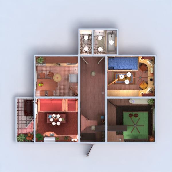 floorplans wohnung mobiliar badezimmer schlafzimmer wohnzimmer küche kinderzimmer lagerraum, abstellraum eingang 3d