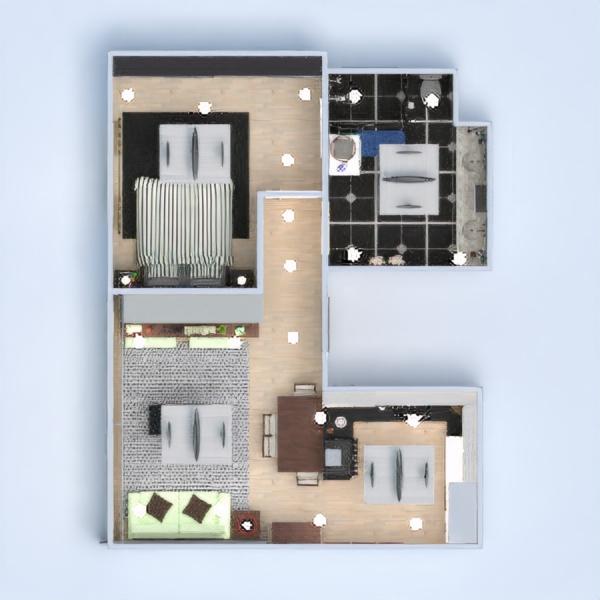 floorplans apartamento dormitório cozinha iluminação 3d