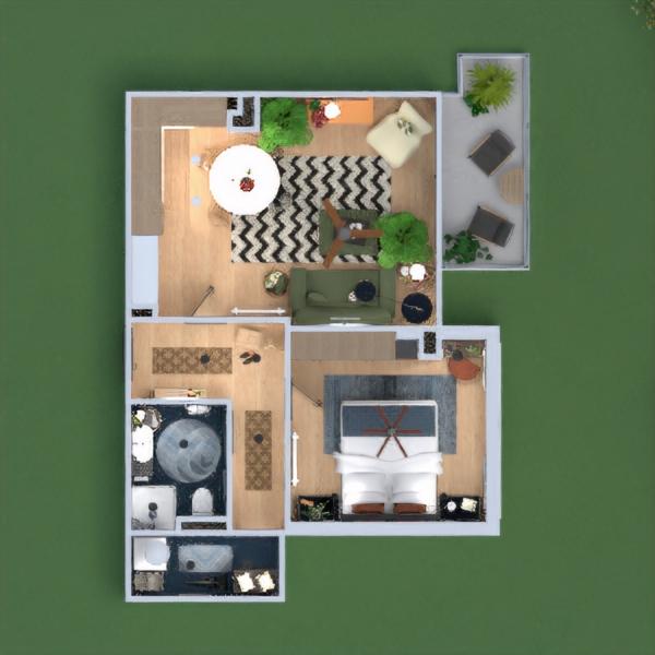 floorplans butas dekoras miegamasis svetainė sandėliukas 3d