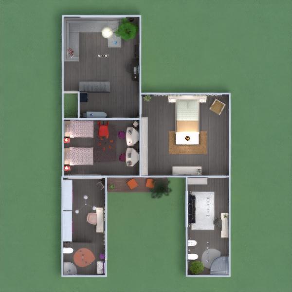 floorplans dom meble wystrój wnętrz sypialnia pokój dzienny 3d