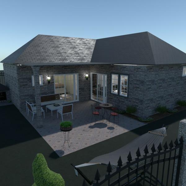 planos casa salón cocina paisaje 3d