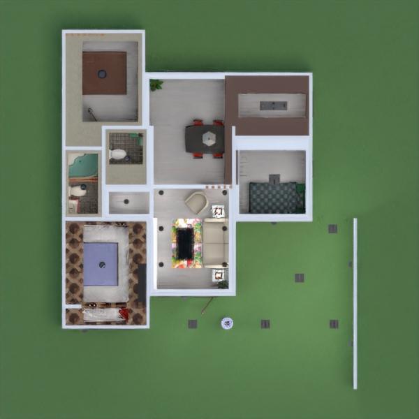 floorplans wohnung haus terrasse wohnzimmer küche 3d