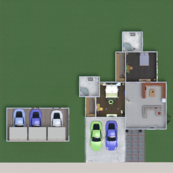 floorplans maison salle de bains chambre à coucher salon rénovation 3d