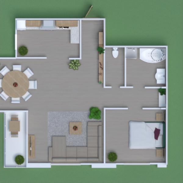 floorplans casa varanda inferior quarto cozinha área externa 3d