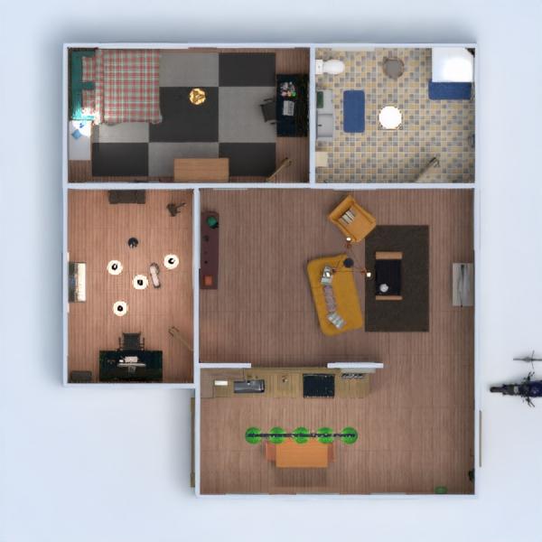 floorplans butas baldai vonia miegamasis svetainė virtuvė studija 3d
