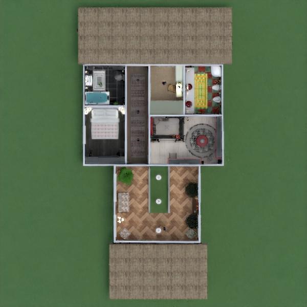 floorplans casa varanda inferior mobílias sala de jantar arquitetura 3d