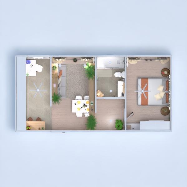 планировки квартира спальня гостиная кухня 3d