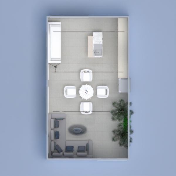 планировки мебель декор гостиная кухня столовая 3d