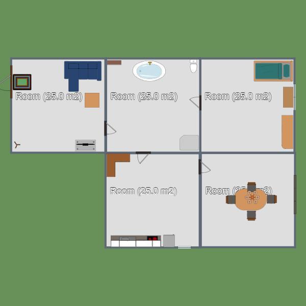 floorplans cuarto de baño dormitorio salón cocina 3d