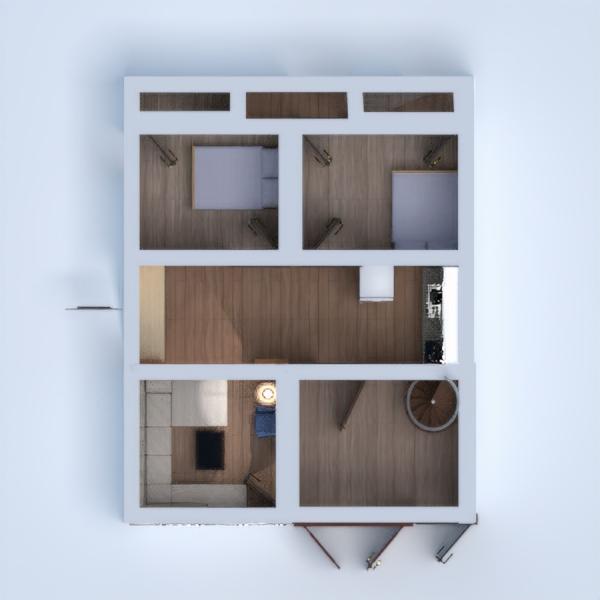 floorplans butas namas garažas virtuvė prieškambaris 3d
