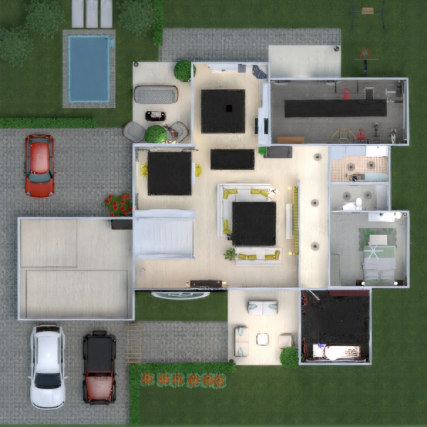 floorplans house furniture kitchen outdoor kids room 3d