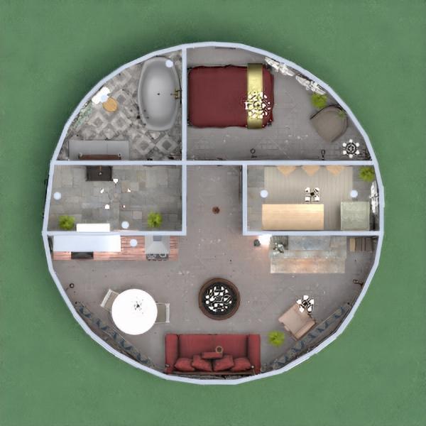 floorplans casa dormitorio salón cocina 3d
