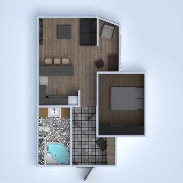 floorplans butas baldai dekoras pasidaryk pats vonia miegamasis svetainė virtuvė studija 3d