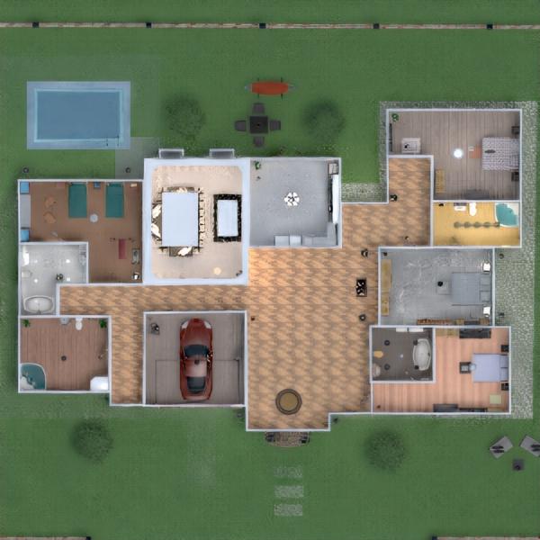 floorplans quarto garagem cozinha área externa quarto infantil 3d
