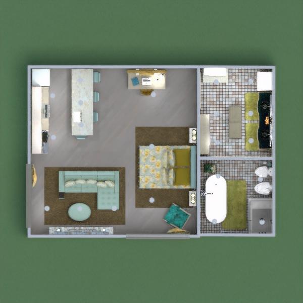 floorplans decorazioni camera da letto monolocale 3d