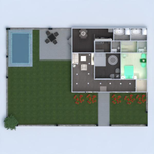 floorplans bagno camera da letto saggiorno cucina esterno 3d