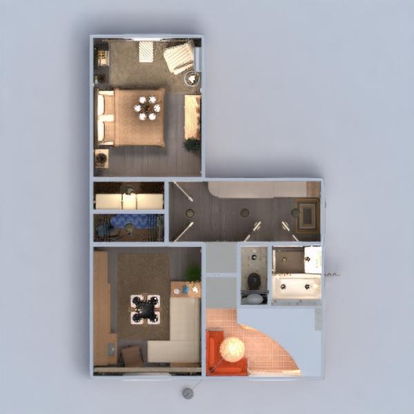 floorplans mieszkanie meble wystrój wnętrz łazienka sypialnia pokój dzienny kuchnia oświetlenie remont przechowywanie wejście 3d