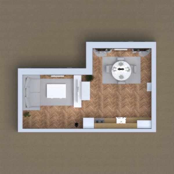floorplans butas namas svetainė virtuvė valgomasis 3d