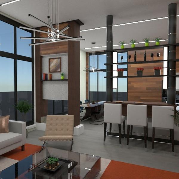 floorplans dekoras svetainė virtuvė apšvietimas 3d