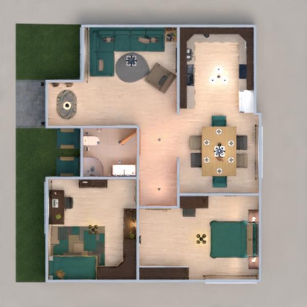 floorplans wohnung haus mobiliar schlafzimmer wohnzimmer 3d