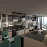 planos apartamento muebles decoración salón cocina despacho iluminación paisaje arquitectura descansillo 3d