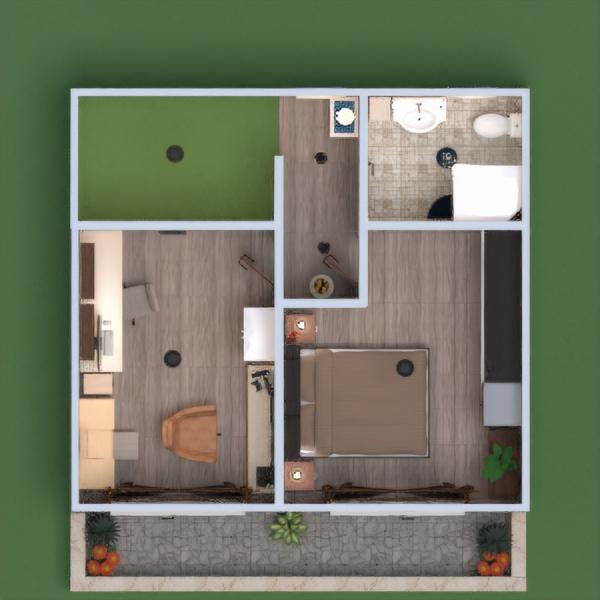 floorplans namas terasa baldai dekoras vonia miegamasis garažas virtuvė biuras prieškambaris 3d