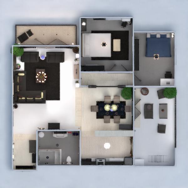 floorplans mieszkanie dom taras meble wystrój wnętrz sypialnia pokój dzienny kuchnia oświetlenie jadalnia 3d