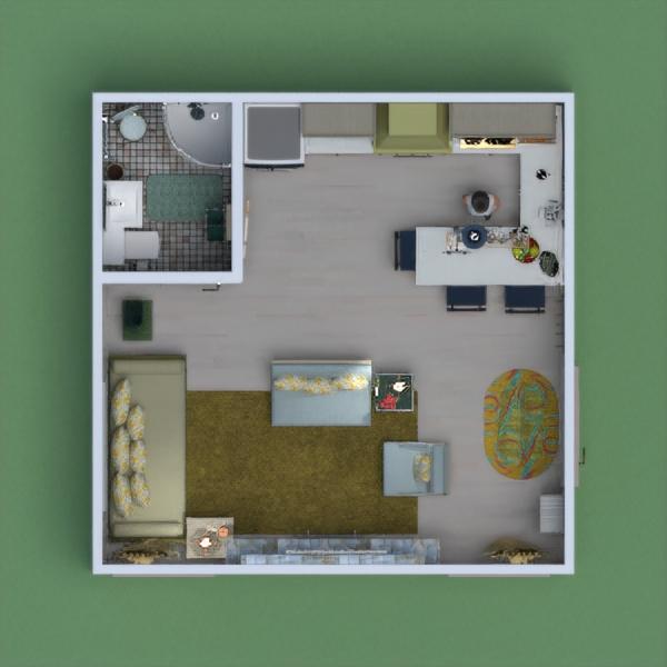 floorplans decorazioni bagno cucina monolocale 3d