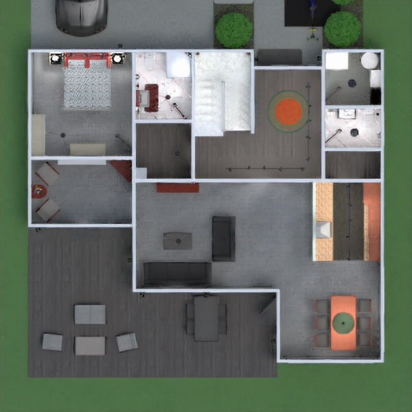 floorplans appartamento casa veranda arredamento bagno camera da letto saggiorno cucina esterno cameretta illuminazione sala pranzo architettura vano scale 3d