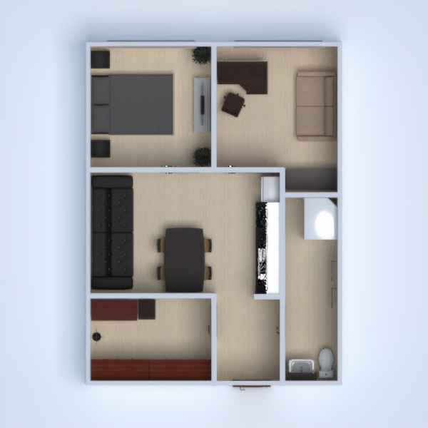 floorplans appartamento arredamento monolocale 3d