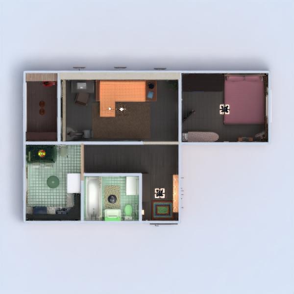floorplans mieszkanie meble wystrój wnętrz łazienka sypialnia pokój dzienny kuchnia oświetlenie przechowywanie wejście 3d
