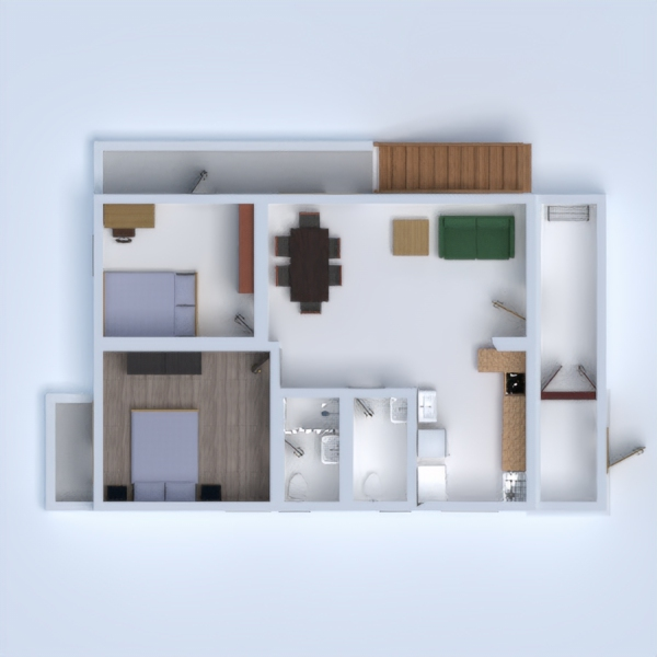 floorplans apartment terrace 3d